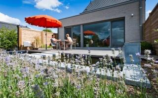 Terras met vijver in tuin van hedendaagse woning